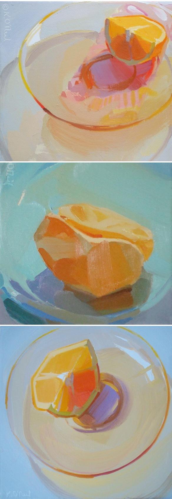 karen oneil peinture assiette d'orange fraicheur d'été
