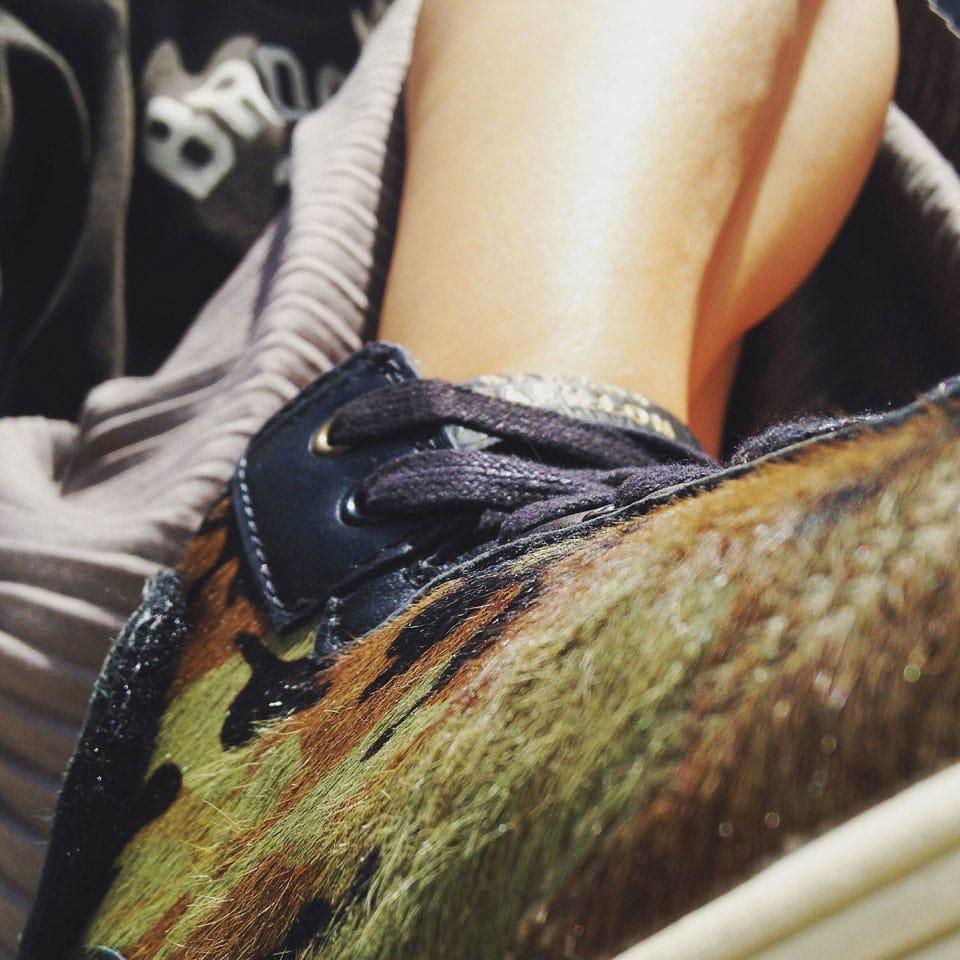 baskets cuir et pelage, camouflage Barons Papillom
