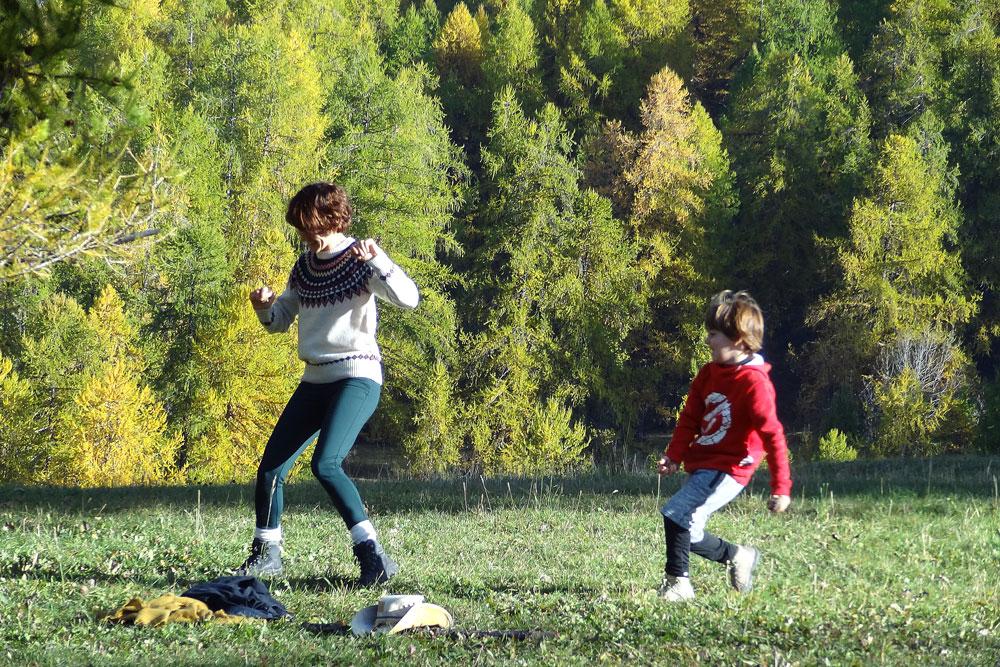bataille avec maman et jeux de montagne