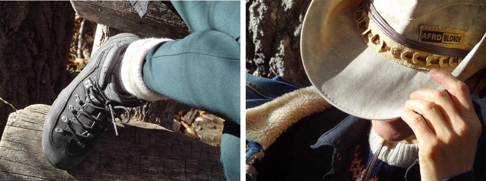 pantalon sud express et chapeau afroblonde