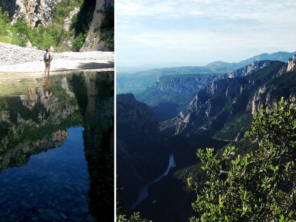 vue sur le canyon et rivière des gorges du Verdon miroir, falaises vertigineuses