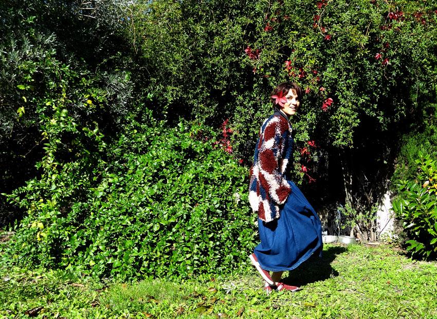 look patchwork de laine fleur denim