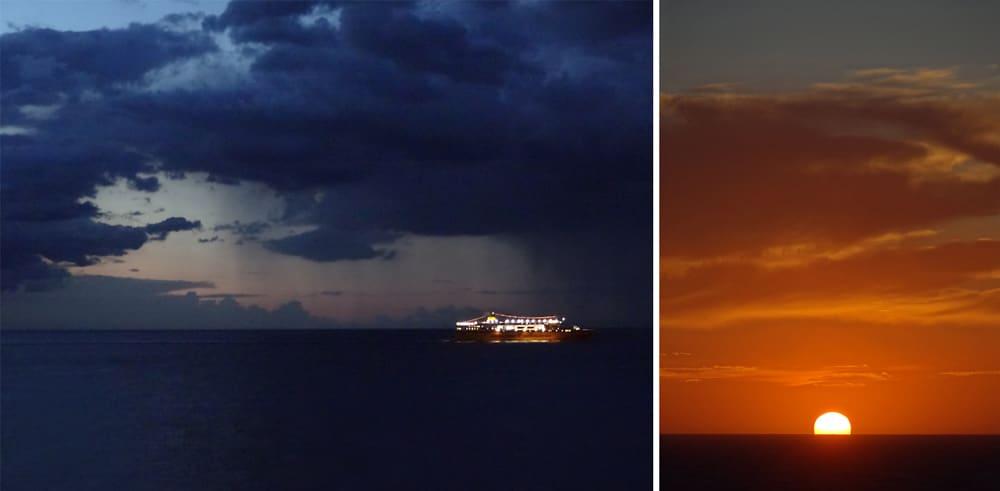 ragarder le soleil pendant la traversée en ferry