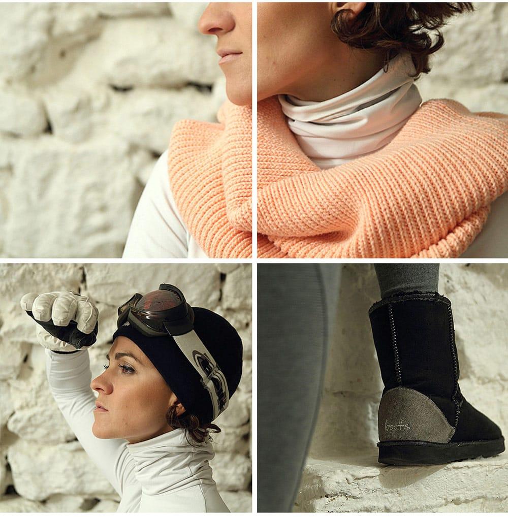 tenue de ski masque bonnet et écharpe