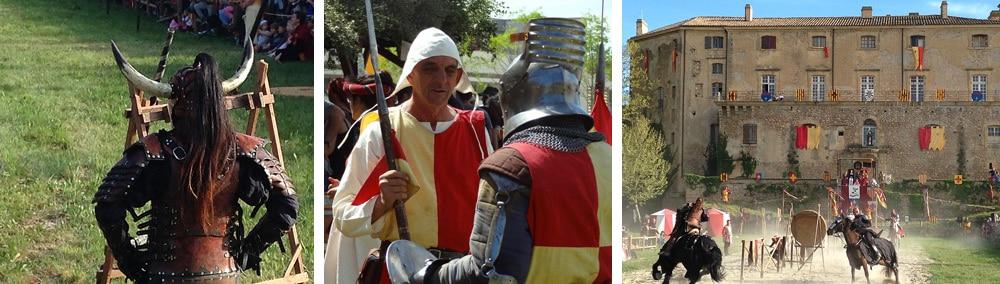 chevaliers chevaux et écuyers fête médievale en Provence