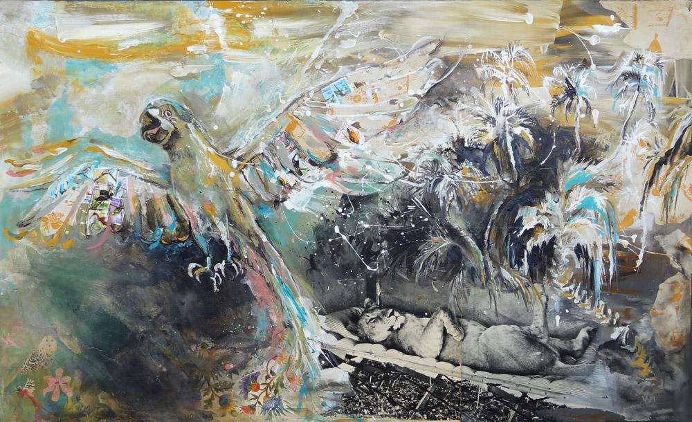 peinture exotique lionne adamson safari