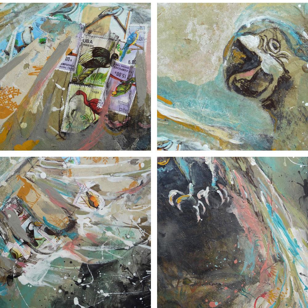 peinture exotique safari afrique lionne adamson