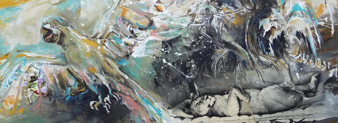 La lionne Adamson : peinture exotique