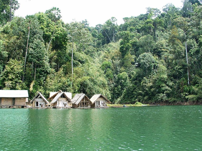 petites maisons sur l'eau à Khao Sok en Thaïlande
