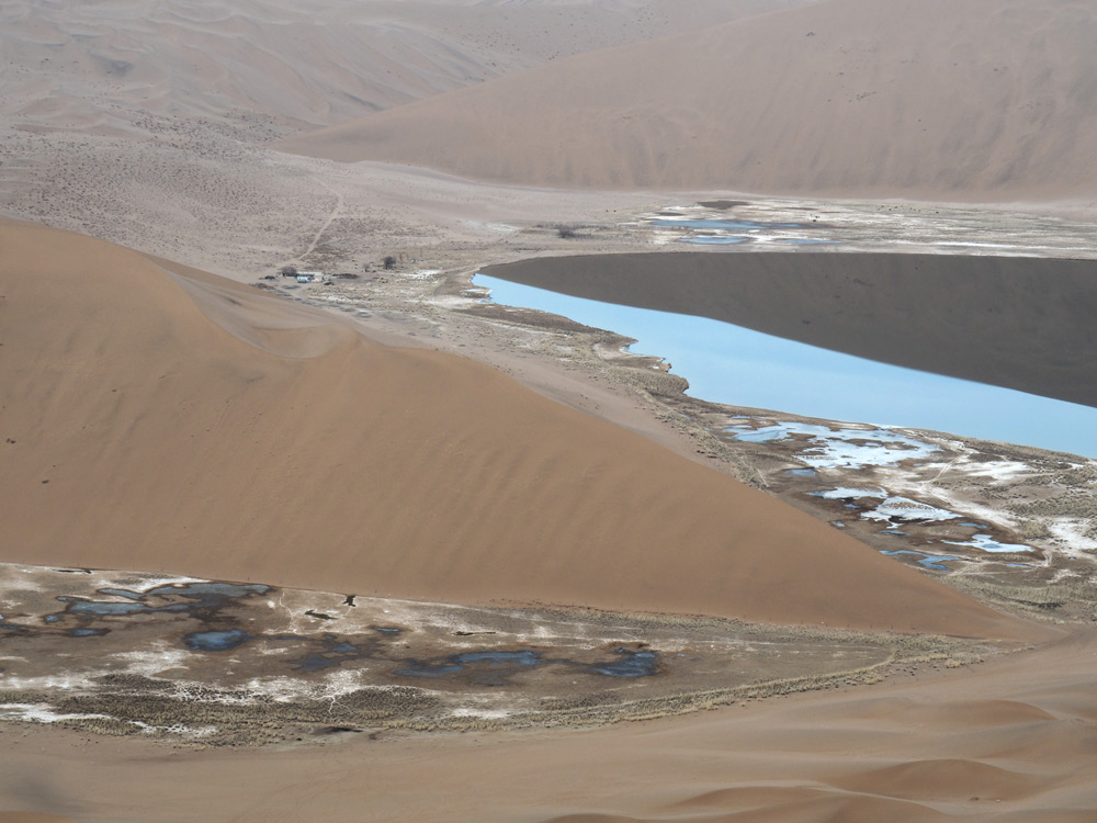 lac dans le desert chine Zhangye blog voyage hiver