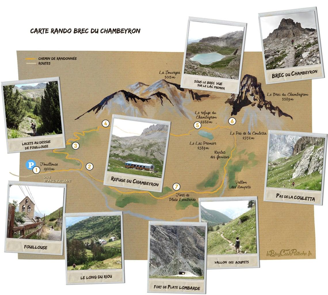 carte randonnée Chambeyron Fouillouse topo GR5 Ubaye