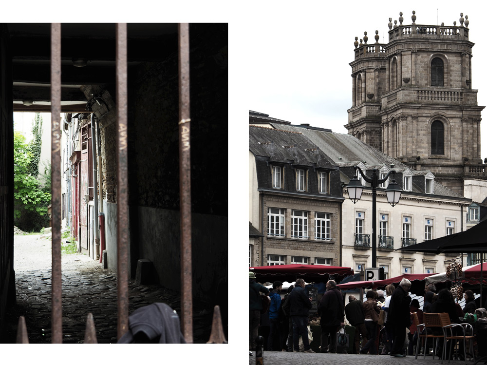 Place des Lices et cathédrale de Rennes Bretagne