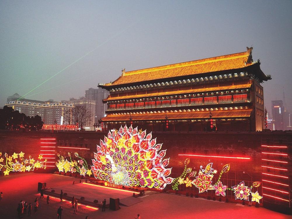 fête des Lanternes sur les murailles Xian Chine