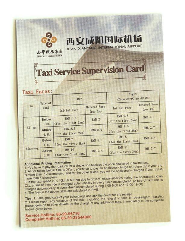 distance et prix taxi aéroport Xian