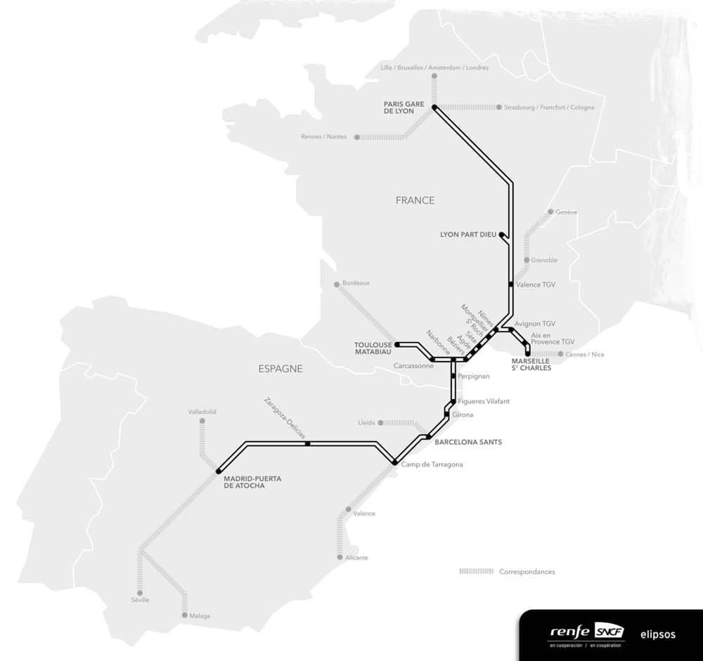 carte TGV France Espagne voyage avec renfe sncf