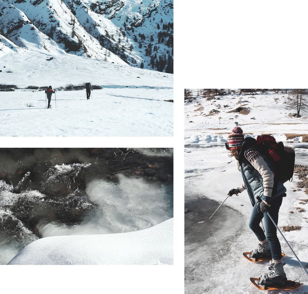 randonnée en raquettes à neige dans les Alpes