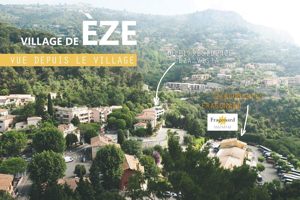 plan ville visiter Êze vue sur village fragonard