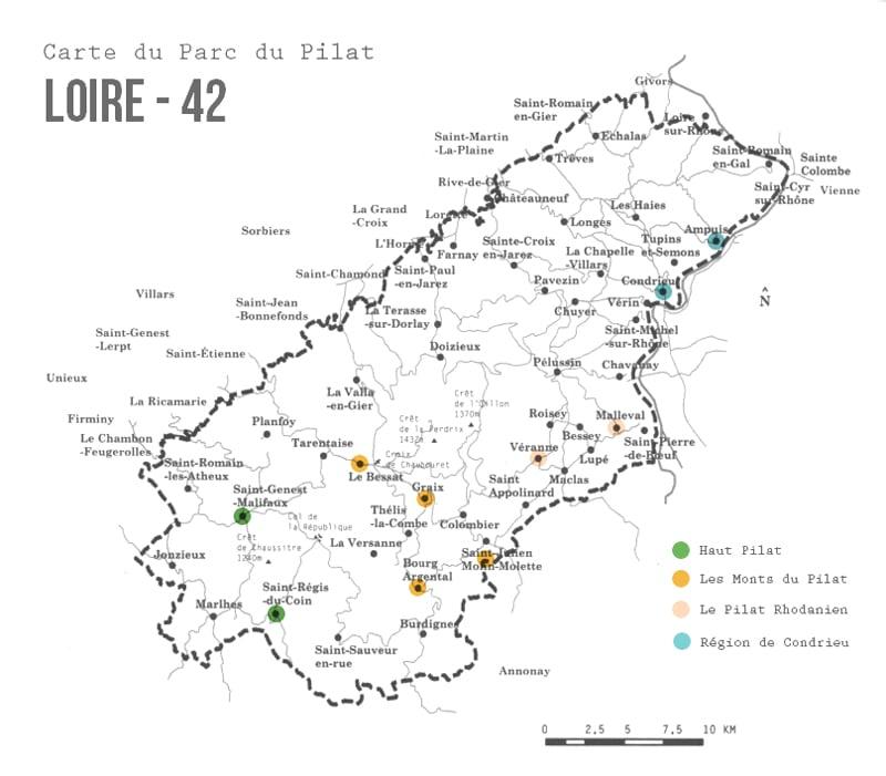 Carte du Parc du Pilat Loire carnet de route itinéraire étapes