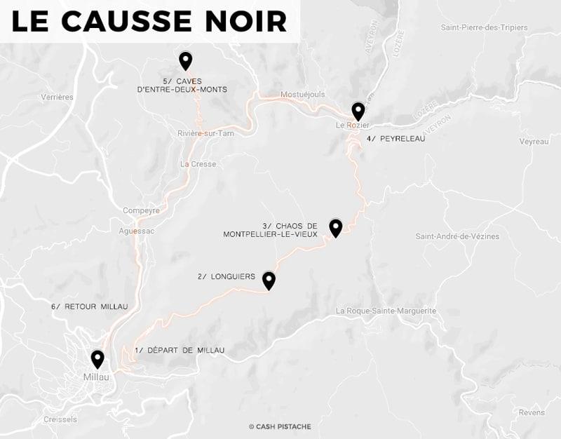 Causse Noir carte tourisme Montpellier le Vieux