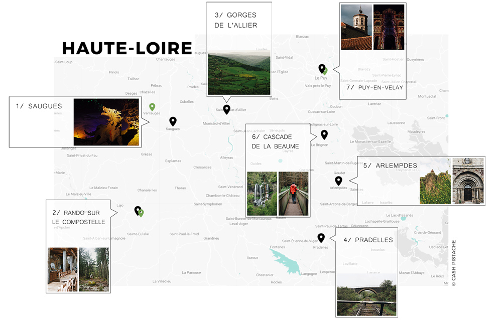 carte Haute-Loire itinéraire Puy-en-Velay en Auvergne