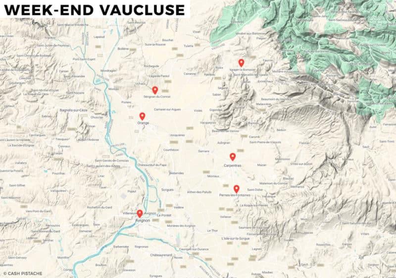 Carte du Vaucluse itinéraire en voiture week-end