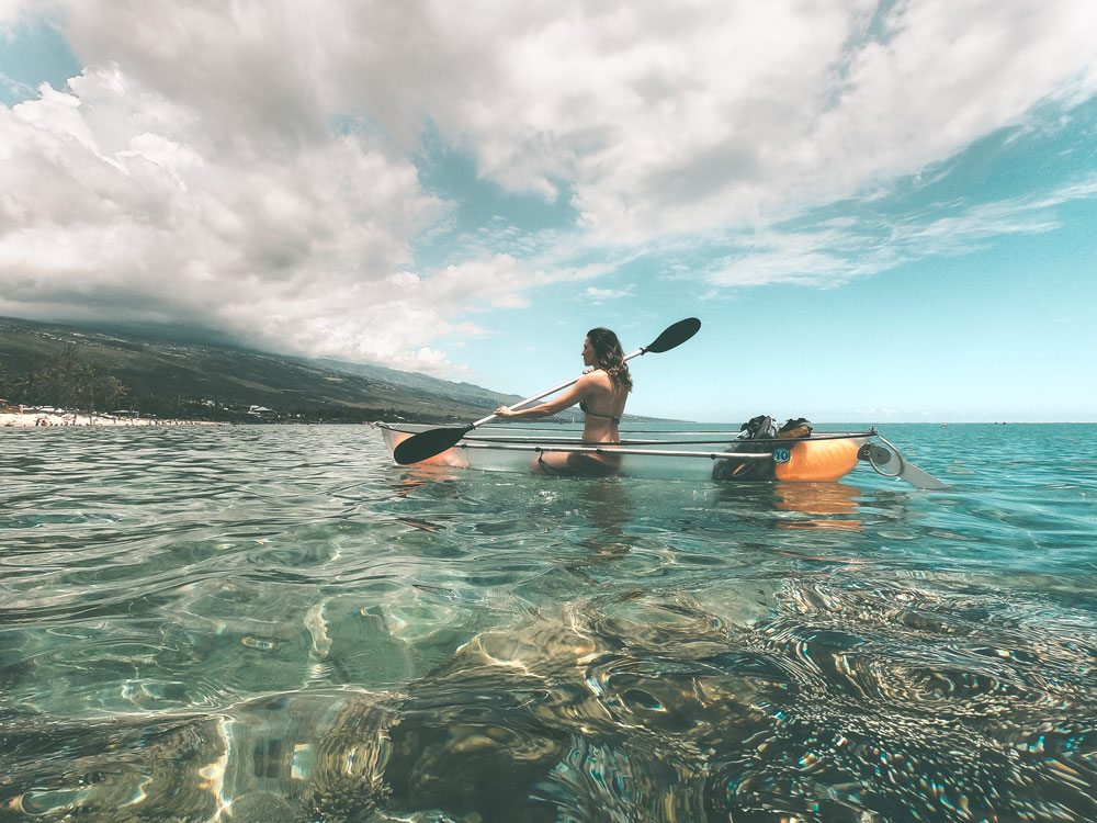 faire du kayak transparent à La Réunion