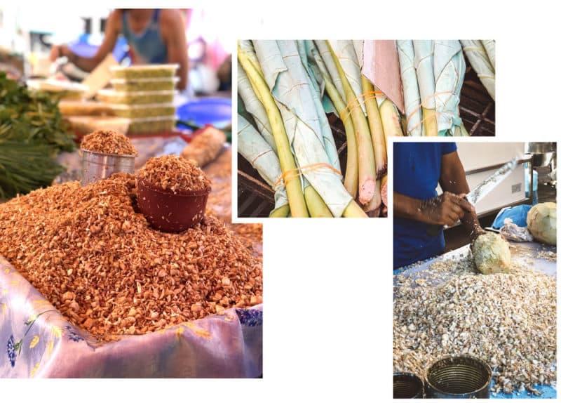 préparations cuisine Réunion sur marché forain de Saint-Pierre