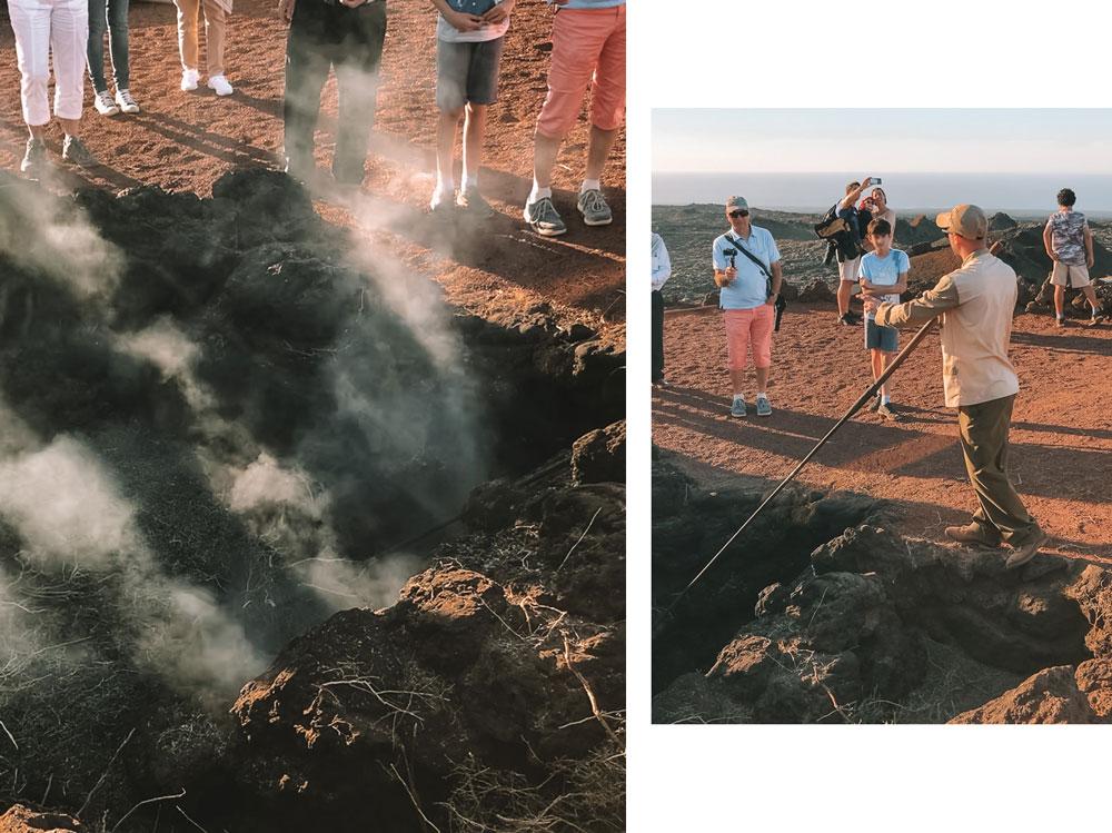 démonstrations phénomènes volcaniques Timanfaya Lanzarote