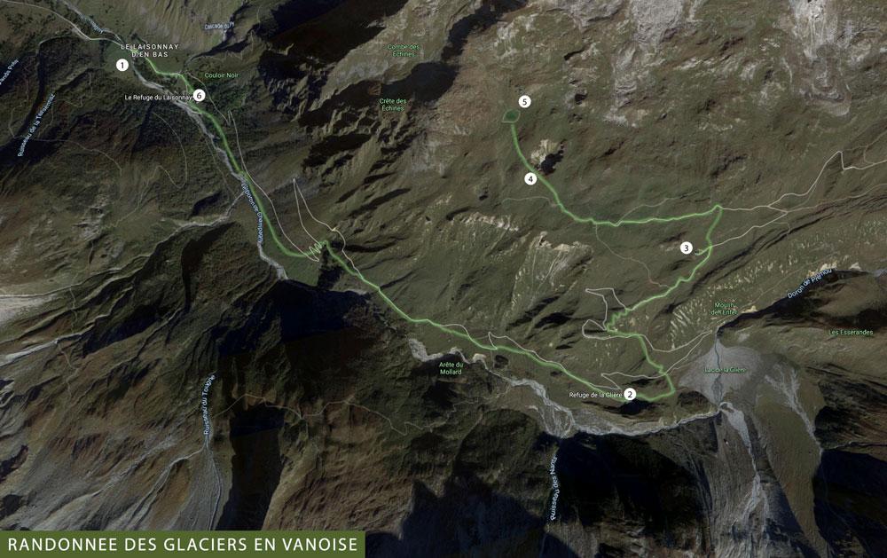 carte randonnée Champagny en Vanoise