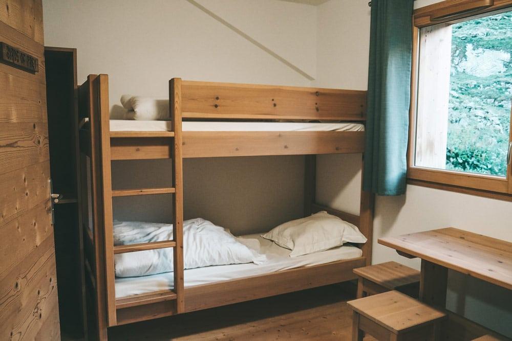 chambres dortoirs refuge de la Glière