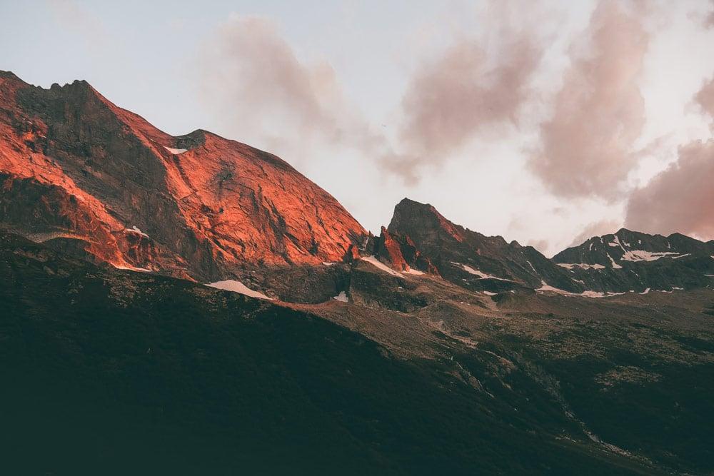 coucher de soleil glaciers Champagny-en-Vanoise La Plagne
