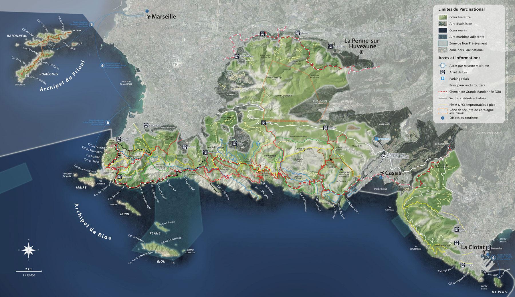 carte parc national calanques Marseille Cassis