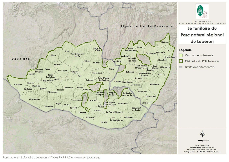 carte Luberon liste des villages