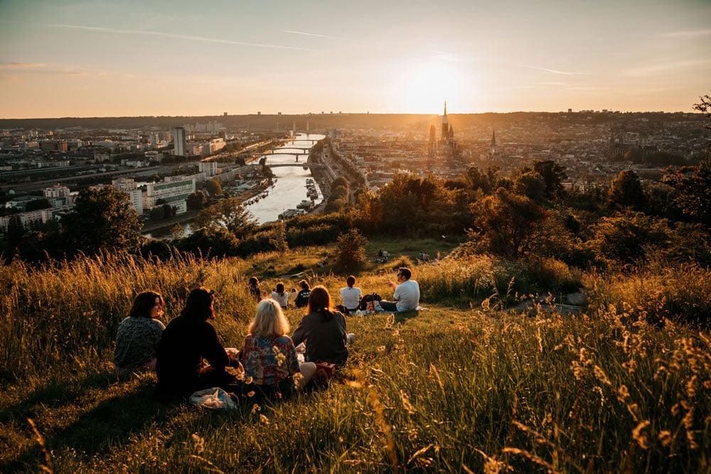 où avoir panorama sur Rouen coucher de soleil Sainte Catherine